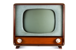 1960's old television on a white background