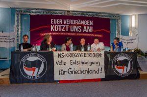 Podium des Hearings »NS-Verbrechen benennen | Opfer entschädigen | Rechte Traditionspflege angreifen« am 14.Mai in Bad Reichenhall